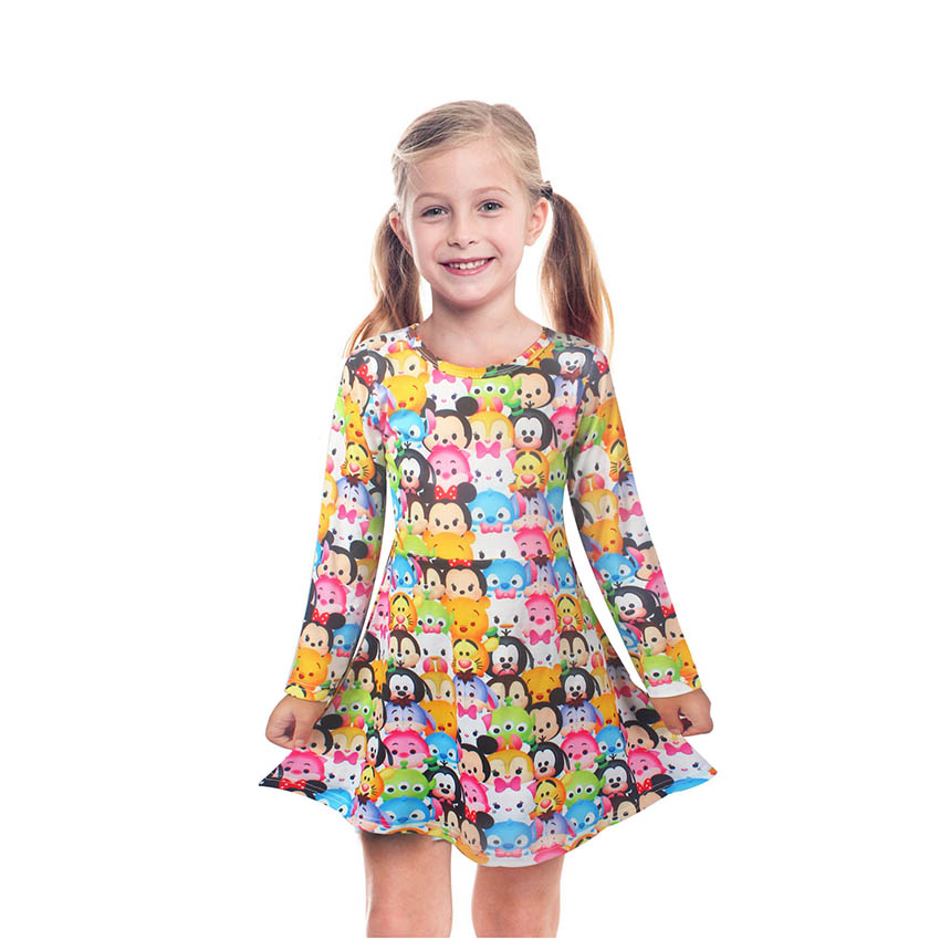Kids Girls Dress Minnie Cartoon Full Print Princess Dress Autumn Summer Ocean Mesh Style Moana Trolls Party For Children Clothes uoipae party dress girls 2018 autumn