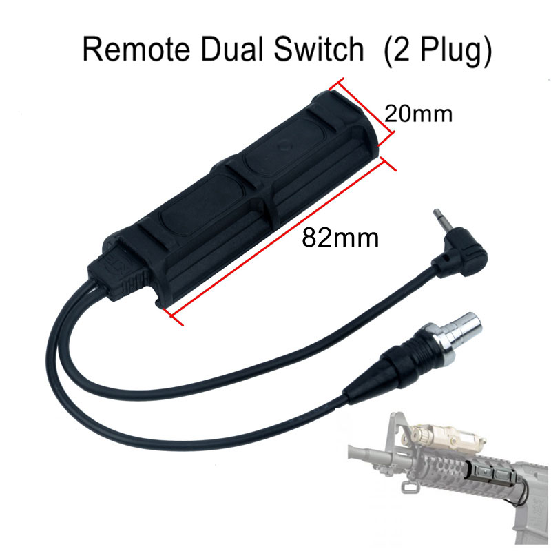 Night Evolution Remote Dual Switch (2 Plug) Tactical Military Pressure Pad Switch Quality Flashlight Accessory PEQ Gun Light