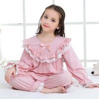 Newest Girls Pajama Set Kids Home Cloth Pyjamas Cotton Long Sleeve Lace Cute Princess Nightgown Retro Sweet Sleepwear Y1254