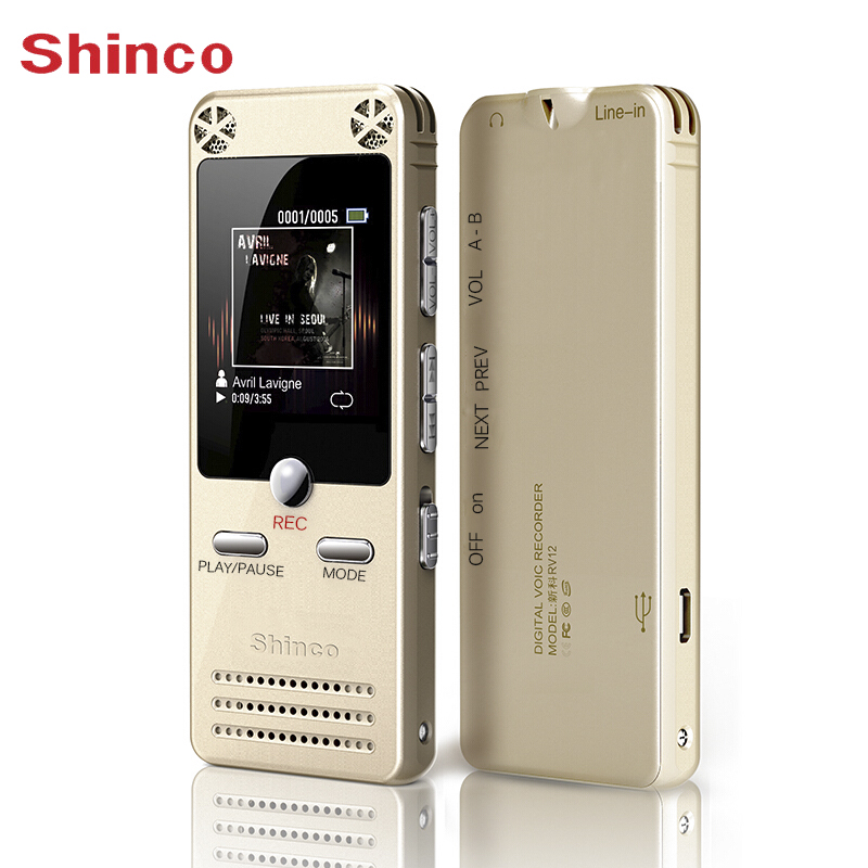 Voice Recorder Shinco RV12 16GB Digital Sound Recording Device with LCD Display USB Support MP3 Player Dictaphone Pen Recorder