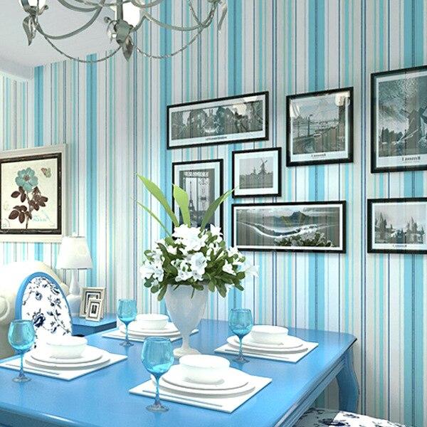 Mediterranean Non-woven Vertical Stripes Wallpaper Modern Minimalist Living Room Bedroom Sofa TV Background Wallpaper Light Blue