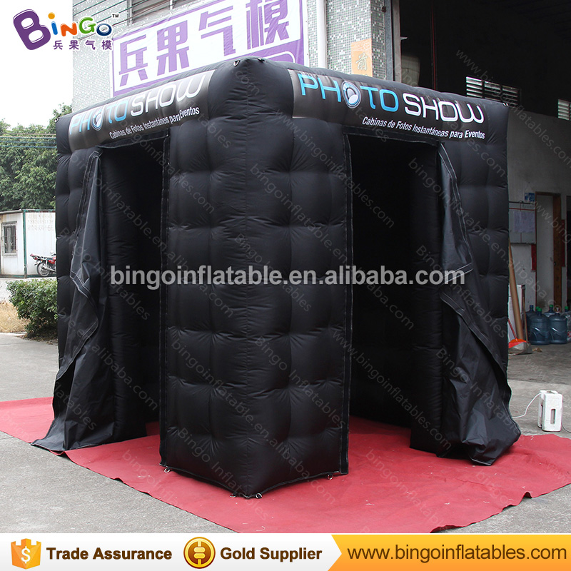 Free Delivery all black inflatable photo booth 2.4X2.4X2.4 Meters two doors logo printing blow up photo booth toy tent free shipping black inflatable cheap foldable photo booth for wedding party usage