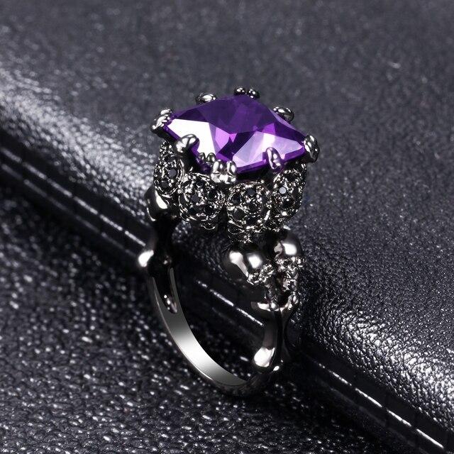 Skull Ring European and American Punk style Motor Biker Men Party Ring Birthday stone skull men's  Women's jewelry Rings 5