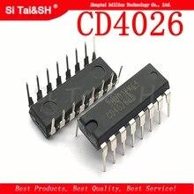 10 unids/lote CD4026 CD4026BE 4026 IC CMOS contadores década/divisor DIP 16