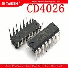 10 pçs/lote cd4026 cd4026be 4026 ic cmos contadores dedécada/divisor dip-16