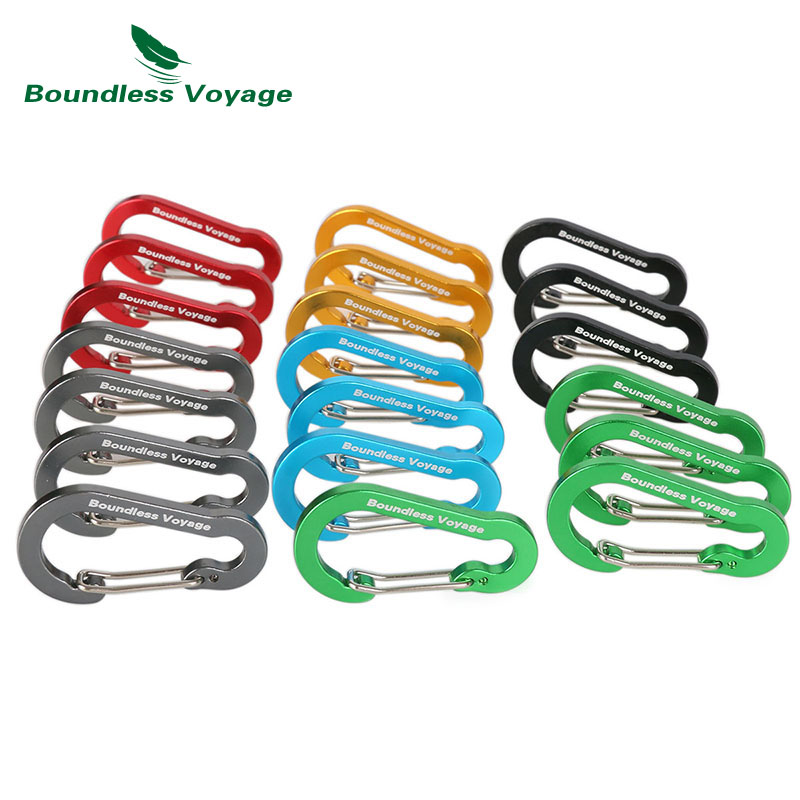 Boundless Voyage Aluminum Alloy Carabiner Outdoor Climbing Accessories Buckle Multifunction Backpack Hook Key Chain BV1011 13 9cm aluminum alloy outdoor sports carabiner w sponge purple