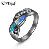 Suaymakbrand Female Black Gold Plated Inlaid Opal Cubic Zirconia Woman Rings Wedding Ring Jewelry Vintage Women