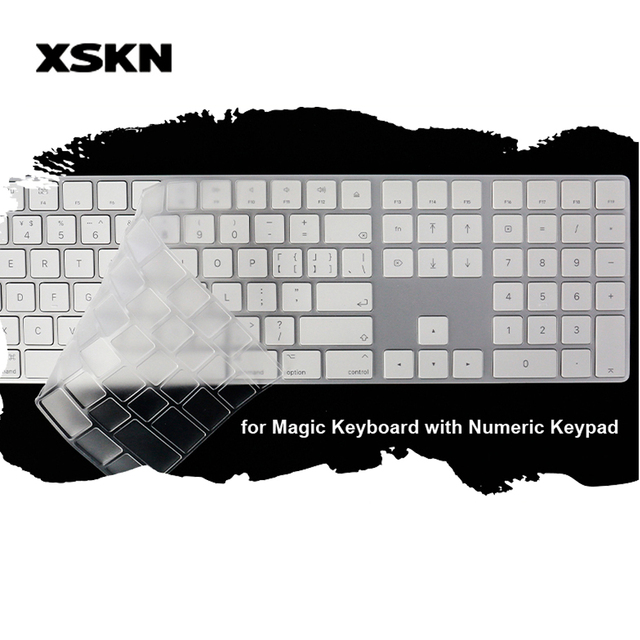 Funda de teclado XSKN para teclado mágico con almohadilla numérica transparente TPU Ultra delgada cubierta de teclado de ordenador portátil calcomanías película protectora US