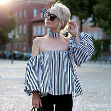 купить Striped Cold Shoulder Blouse Shirt Women Halter Long Sleeve Lantern Loose Female Blouse Fashion Hot Vintage Linen Clothing Shirt дешево