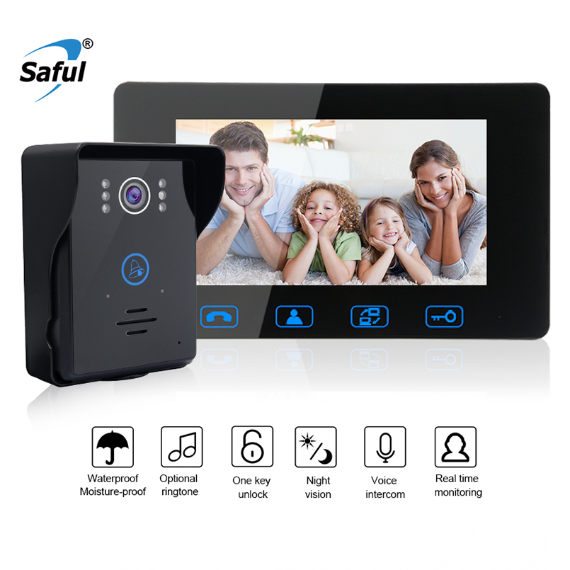 Saful 7 Wired Color Video Door Phone Door Bell Intercom System with IR Night Vision Camera Outdoor Monitoring Support Unlock