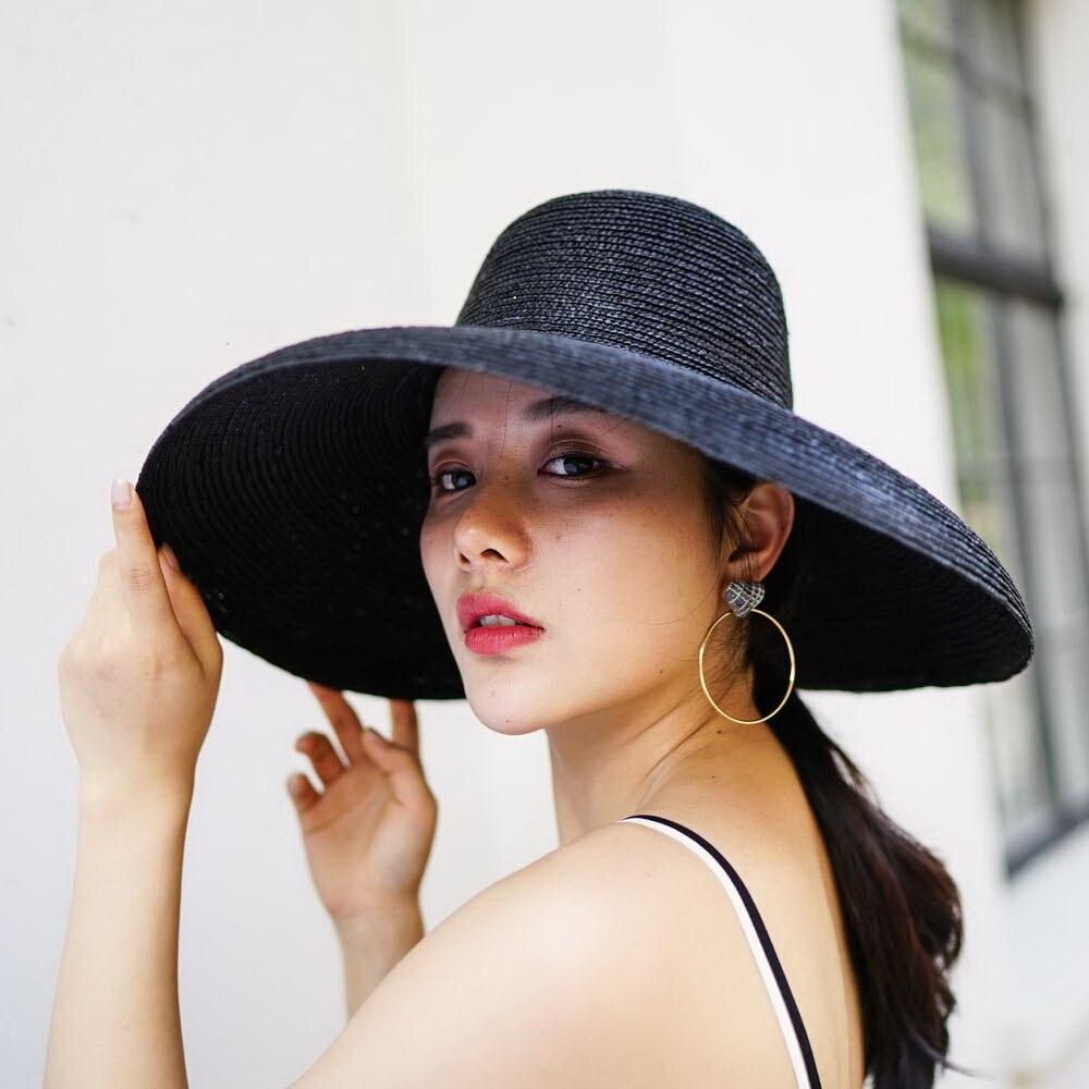 Пляжная шляпа Винтаж широкие поля, из соломы шляпа 2018 новый летний Защита от солнца шапки для дам женский Панама 681024