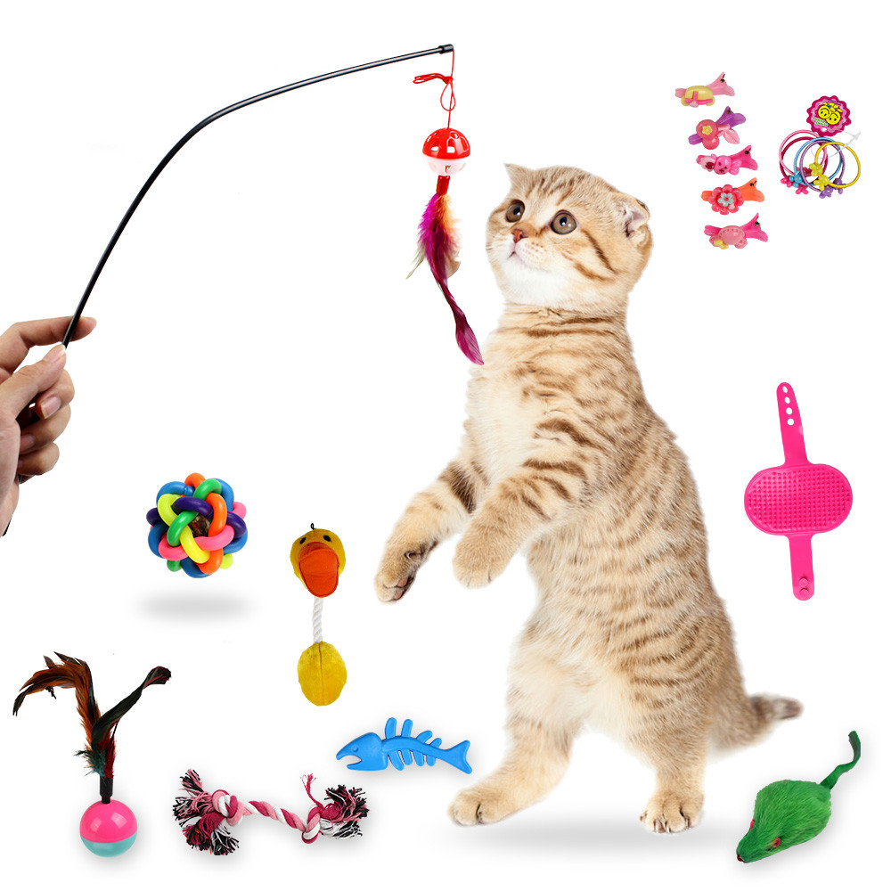 ISHOWTIENDA 18 Pcs Cat Toys Variety Pack Cat Toy Funny Mouse Sisal Baby Cat Love Toy Set cat