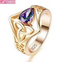 JROSE Fashion Pears Mystic Rainbow Green Cubic Zirconia Jewelry Silver Goldplated Ring Size  6 7 8 9 JEWELRY Women