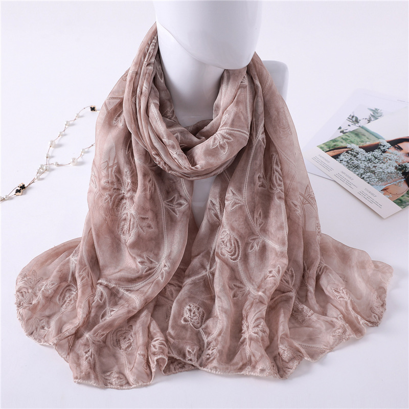 new 2019 brand women   scarf   fashion summer Embroidery shawl   wrap   lady pashmina silk   scarves   hijab foulard beach stoles