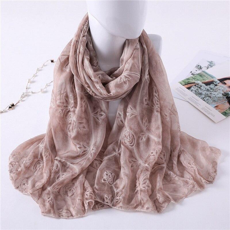 New 2020 Brand Women Scarf Fashion Summer Embroidery Shawl Wrap Lady Pashmina Silk Scarves Hijab Foulard Beach Stoles