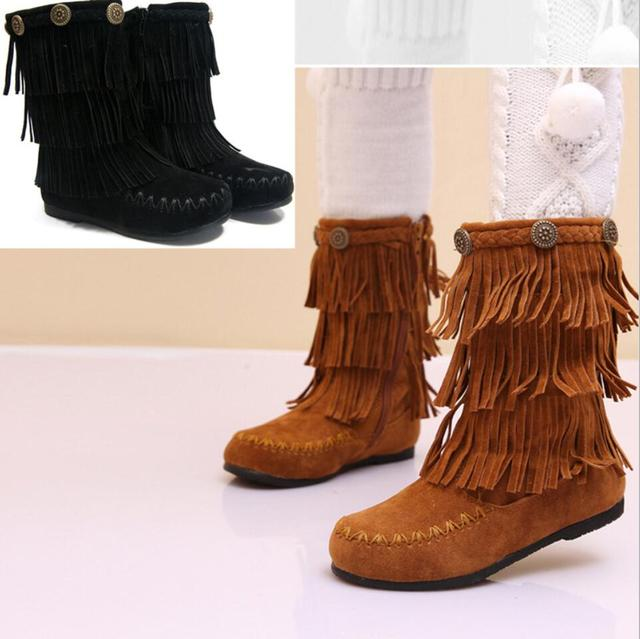 2016 New Winter Children Shoes Fringe Tassel Girls Ankle Boots Mid-Calf Boots Warm Genuine Leather  Snow Boots Princess Shoes