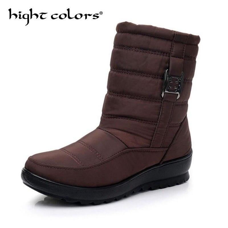 Femmes forme Black D'hiver Mujer De Étanche Peluche Chaussures glissement Non brown Botas Plate red En Épais Nouveau Bottes Neige Pour 2018 5I0fUf