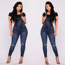 NEW stylish sexy overalls Jeans Women High Waist Skinny Pencil Blue Denim Pants ripped hole stretch elastic Jeans slim fit femme цена