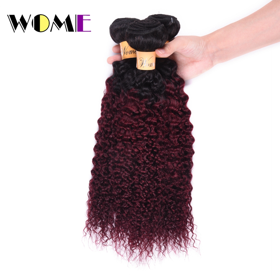 Hair Weaves Hair Extensions & Wigs Wome Pre-colored Indian Hair Weave Bundles Ombre T1b/99j Curly Human Hair 3 Bundles 2 Tone Black To Red Wine Color Hair
