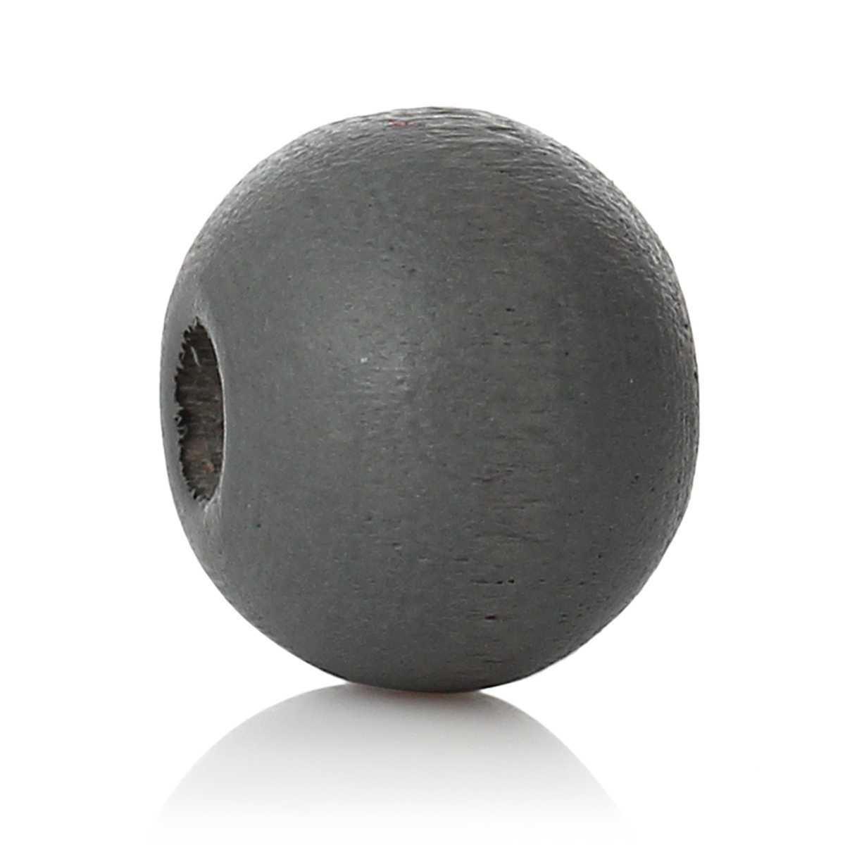"Wood Spacer Beads Round Dark gray About 8mm( 3/8"") Dia, Hole: Approx 2.4mm-2.8mm, 85 PCs new"