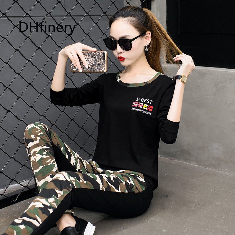 DHfinery 2019 New Women s round neck long sleeved Slim pants fall leisure camouflage sportswear ArmyGreen