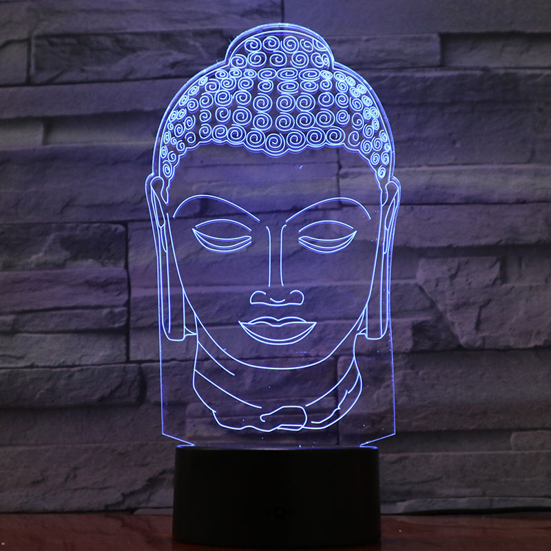 Tathagata Figure USB 3d Led Night Light Religion Believer Buddhism Sakyamuni Decorative Light Mother Mom Gift Desk Lamp Bedroom in LED Night Lights from Lights Lighting