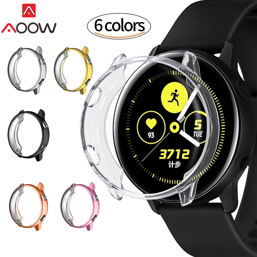 Ultra-thin Plating TPU Screen Protective Case For Samsung Galaxy Watch Active SM-R500 All-Around Protector Cover Shell Frame