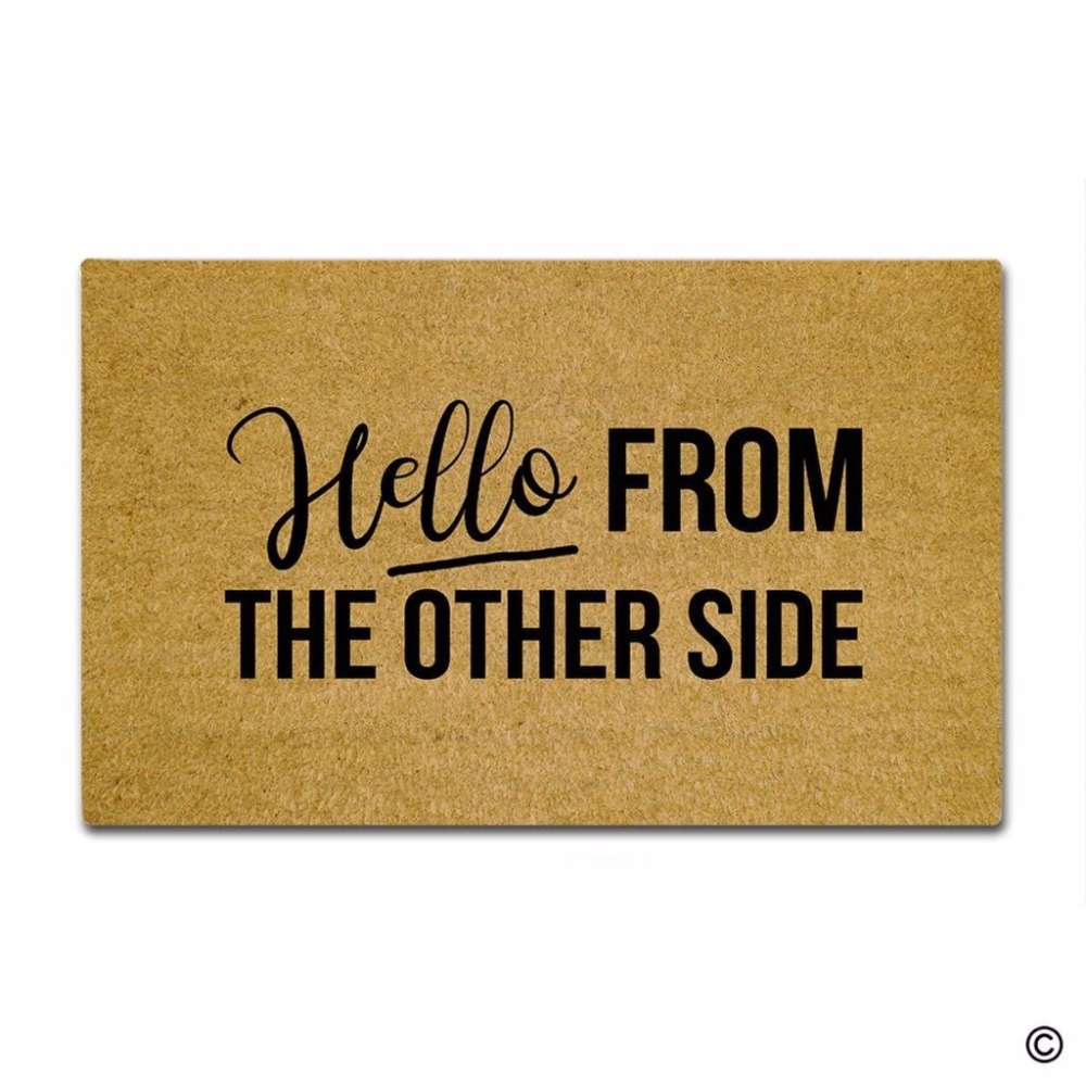 Door Mat Entrance Hello From The Other Side Funny Floor Non-slip Doormat 23.6 by 15.7 Inch Machine Washable Non