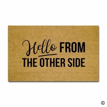 Door Mat Entrance Mat Hello From The Other Side Funny Entrance Floor Mat Non-slip Doormat 23.6 by 15.7 Inch Machine Washable Non