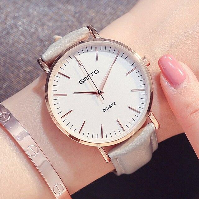 Oro rosa reloj señora moda minimalismo correa de cuero Rosa mujeres simples  relojes de lujo Casual 8e9618b67dcd