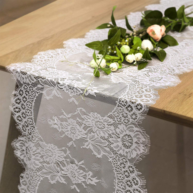 Whole 36x300cm Wedding Table Runner White Lace Fl Cloth Boho Decoration
