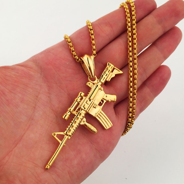 Xs923 sniper rifle necklace maxi statement necklaces men gold xs923 sniper rifle necklace maxi statement necklaces men gold twisted chain gun pendant hiphop jewelry for aloadofball Image collections