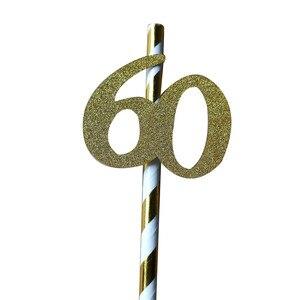 Image 4 - Chicinlife pajita de papel con número 30 40 50 60, Pajita para beber para cumpleaños/aniversario de boda, decoración de fiesta de cumpleaños, 10 Uds.