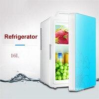 16l refrigerador do carro 220 v 12 v mini refrigerador de refrigeração dormitório família carro casa dupla-uso aquecedor multi-função HD-16L