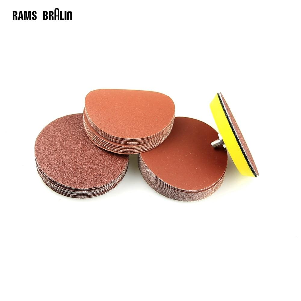 100 Pieces Sanding Disc Round Abrasive Wet Sandpaper P60-600 + 1 Piece M6 Holder For Air Sander