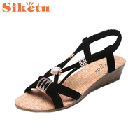 Jaycosin Elegance New Women Wedges Shoes Bohemia Beaded Leisure Lady Sandals Peep Toe Outdoor Shoes Hot