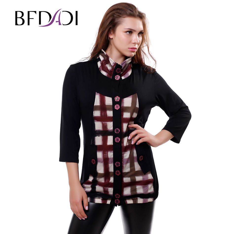 Boutons Bfdadi Décoratifs Purple 9278 01 Nouveau Modal La T Long Plaid Cropped Printemps 2016 Plaid Femmes Plaid Splice Col 03 Stand Plus Red Top Taille 02 Beige shirt QderCoxBW