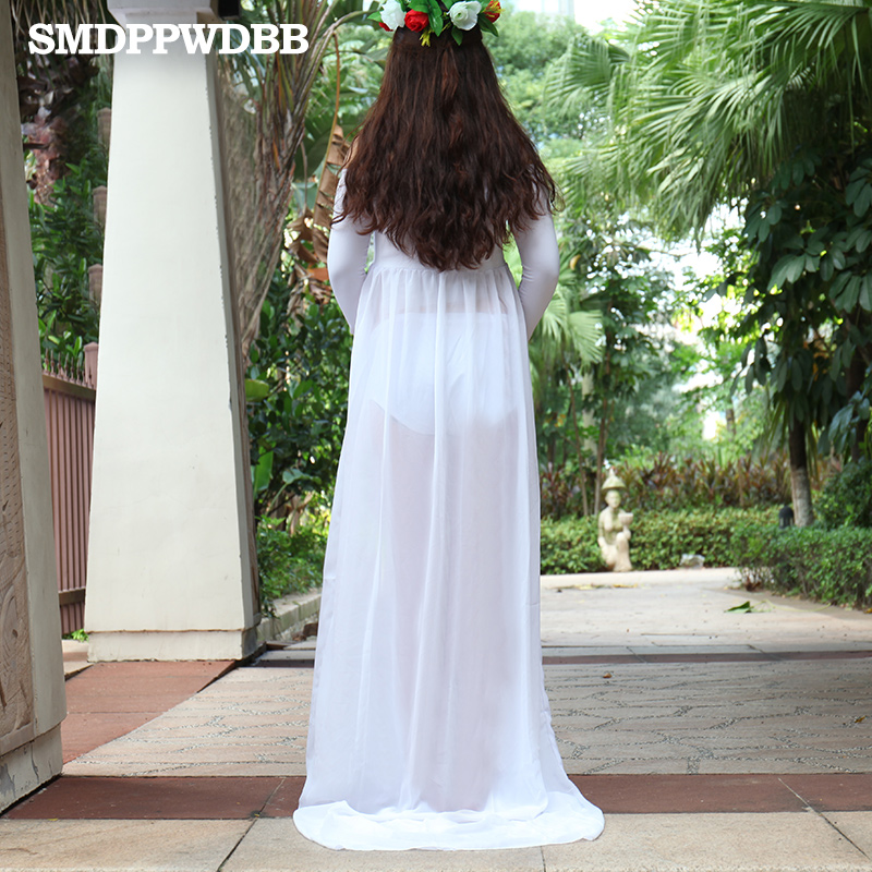 60bb6086f84 SMDPPWDBB Maternity Dresses for Photo Shoot Maternity Gown Split Front  Chiffon Plus Size Dress White Maternity Photography Props-in Dresses from  Mother ...