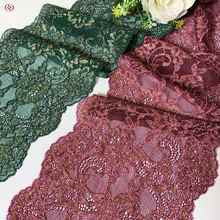 3y/lot 2 colors 17cm dark green elastic lace trim with golden foil shimmer trimming garment accessory DIY material fabric shiny