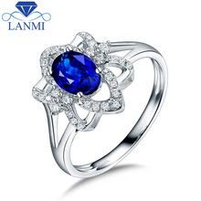 Noble Oval  Natural Sapphire Women's Wedding Engagement Rings In 14Kt White Gold Fine Jewelry Special Design