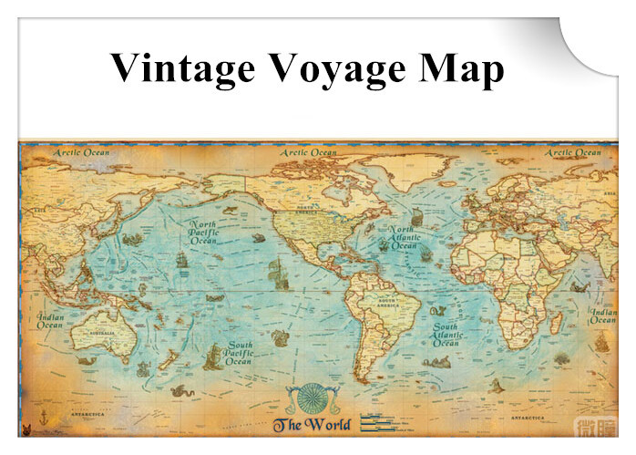 Vintage style world plat voyage map single piece global navigation vintage style world plat voyage map single piece global navigation map clear details map for wall decal in wall stickers from home garden on gumiabroncs Images