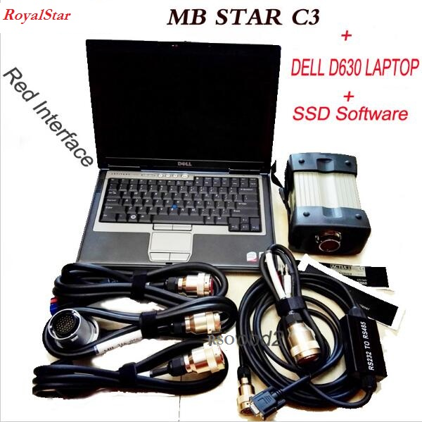 Red Interface MB STAR C3 Multiplexer With 09/2016 Software Star C3 Plus D630 Diagnostic PC 4GB RAM Ready To Work