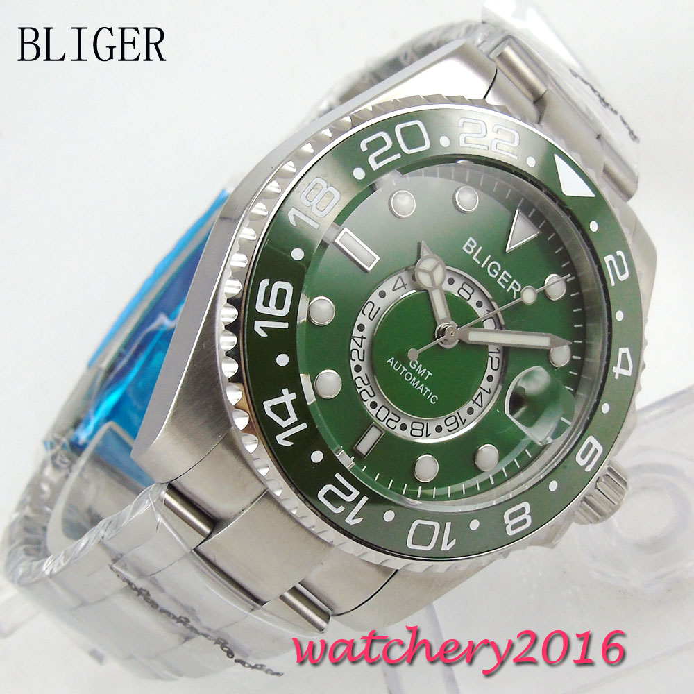 NEW 43mm Bliger Green dial deployment clasp Men's Mingzhu Movement luminous hands date adjust GMT sapphire glass Automatic Watch цена