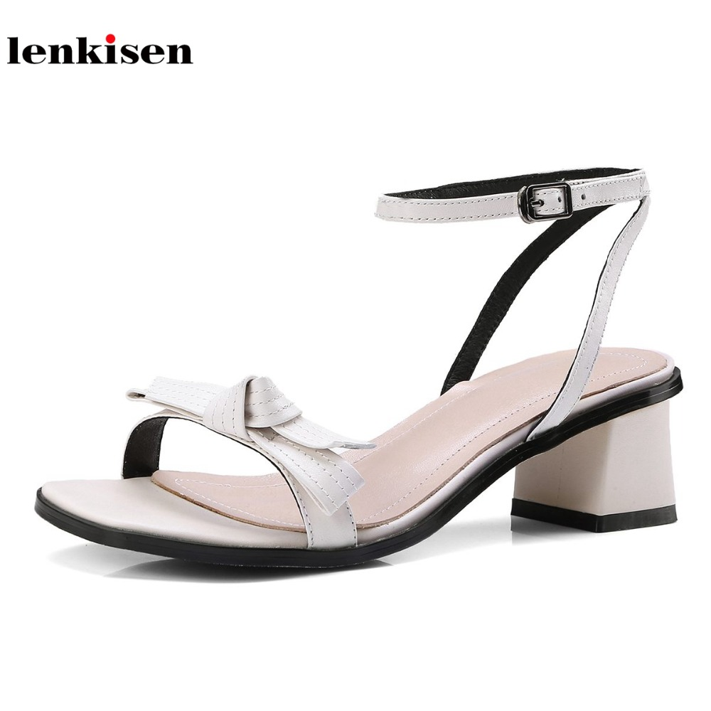 Lenkisen cow leather butterfly knot causal simple classic style buckle straps women sandals peep toe gladiator summer shoes L65