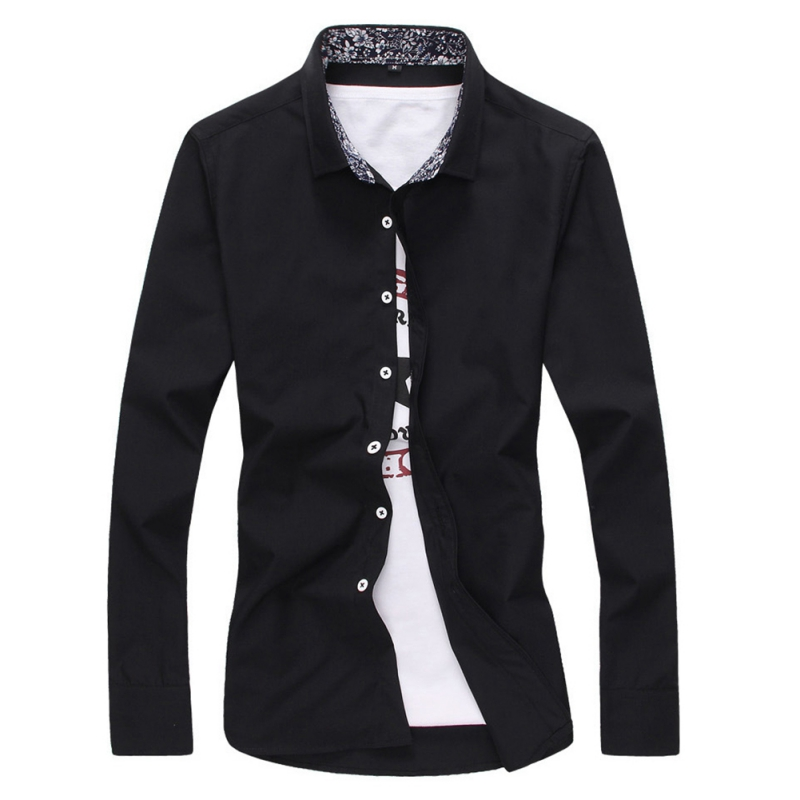 Casual Office Shirt Spring Summer Men's TopsLong Sleeve Blouse Fit Mens Shirts Solid Color Turn-down Collar Male Formal Shirts