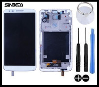 Sinbeda 100 Teste Working LCD Touch Screen Assembly With White Black Frame For LG Optimus G2