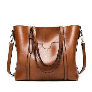 Image 1 - Женская сумка из кожи с воском, роскошная женская сумочка с карманом для кошелька, женская сумка мессенджер, большая женская сумка тоут