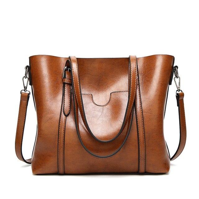 Женская сумка из кожи с воском, роскошная женская сумочка с карманом для кошелька, женская сумка мессенджер, большая женская сумка тоут