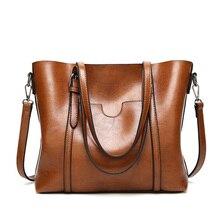Women Bag Oil Wax Womens Leather Handbags Luxury Lady Hand Bags with Purse Pocket Women Messenger Bag Female Big Tote Sac Bols