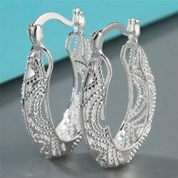 Yeni Varış Moda Oval Gümüş Hoop Küpe Kadınlar Için Düğün Nişan Takı aksesuarları Hoop Küpe A5E589